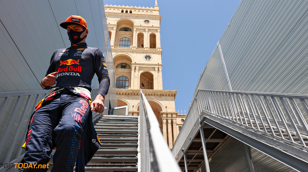 BAKU, AZERBAIJAN - JUNE 04: Max Verstappen of Netherlands and Red Bull Racing walks to the garage during practice ahead of the F1 Grand Prix of Azerbaijan at Baku City Circuit on June 04, 2021 in Baku, Azerbaijan. (Photo by Mark Thompson/Getty Images) // Getty Images / Red Bull Content Pool  // SI202106040112 // Usage for editorial use only //  F1 Grand Prix of Azerbaijan - Practice     SI202106040112