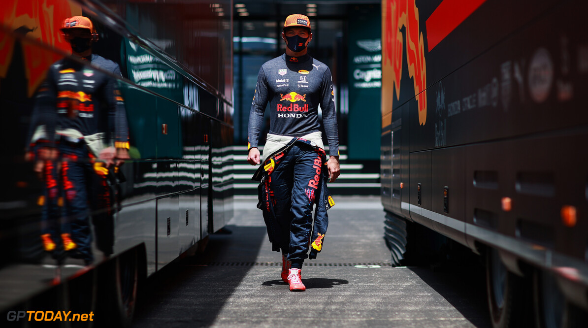 LE CASTELLET, FRANCE - JUNE 18: Max Verstappen of Netherlands and Red Bull Racing walks in the Paddock during practice ahead of the F1 Grand Prix of France at Circuit Paul Ricard on June 18, 2021 in Le Castellet, France. (Photo by Mark Thompson/Getty Images) // Getty Images / Red Bull Content Pool  // SI202106180447 // Usage for editorial use only //  F1 Grand Prix of France - Practice     SI202106180447