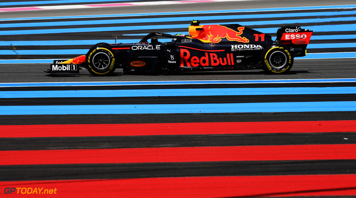 LE CASTELLET, FRANCE - JUNE 18: Sergio Perez of Mexico driving the (11) Red Bull Racing RB16B Honda on track during practice ahead of the F1 Grand Prix of France at Circuit Paul Ricard on June 18, 2021 in Le Castellet, France. (Photo by Rudy Carezzevoli/Getty Images) // Getty Images / Red Bull Content Pool  // SI202106180355 // Usage for editorial use only //  F1 Grand Prix of France - Practice     SI202106180355