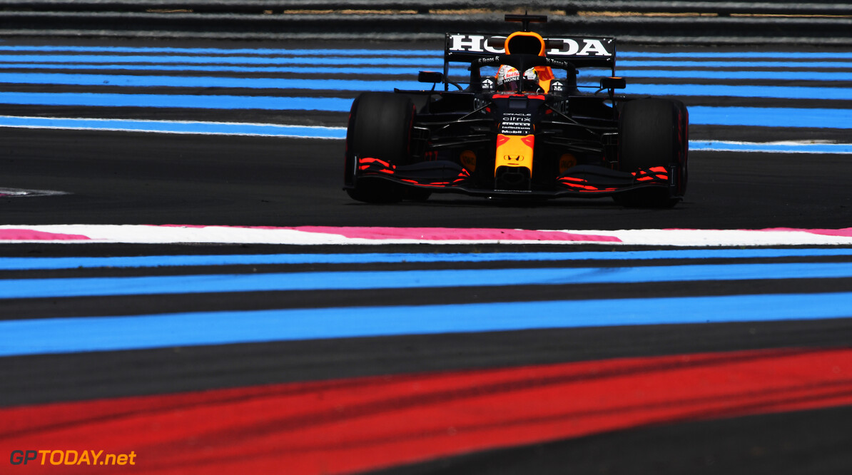 LE CASTELLET, FRANCE - JUNE 18: Max Verstappen of the Netherlands driving the (33) Red Bull Racing RB16B Honda on track during practice ahead of the F1 Grand Prix of France at Circuit Paul Ricard on June 18, 2021 in Le Castellet, France. (Photo by Rudy Carezzevoli/Getty Images) // Getty Images / Red Bull Content Pool  // SI202106180224 // Usage for editorial use only //  F1 Grand Prix of France - Practice     SI202106180224