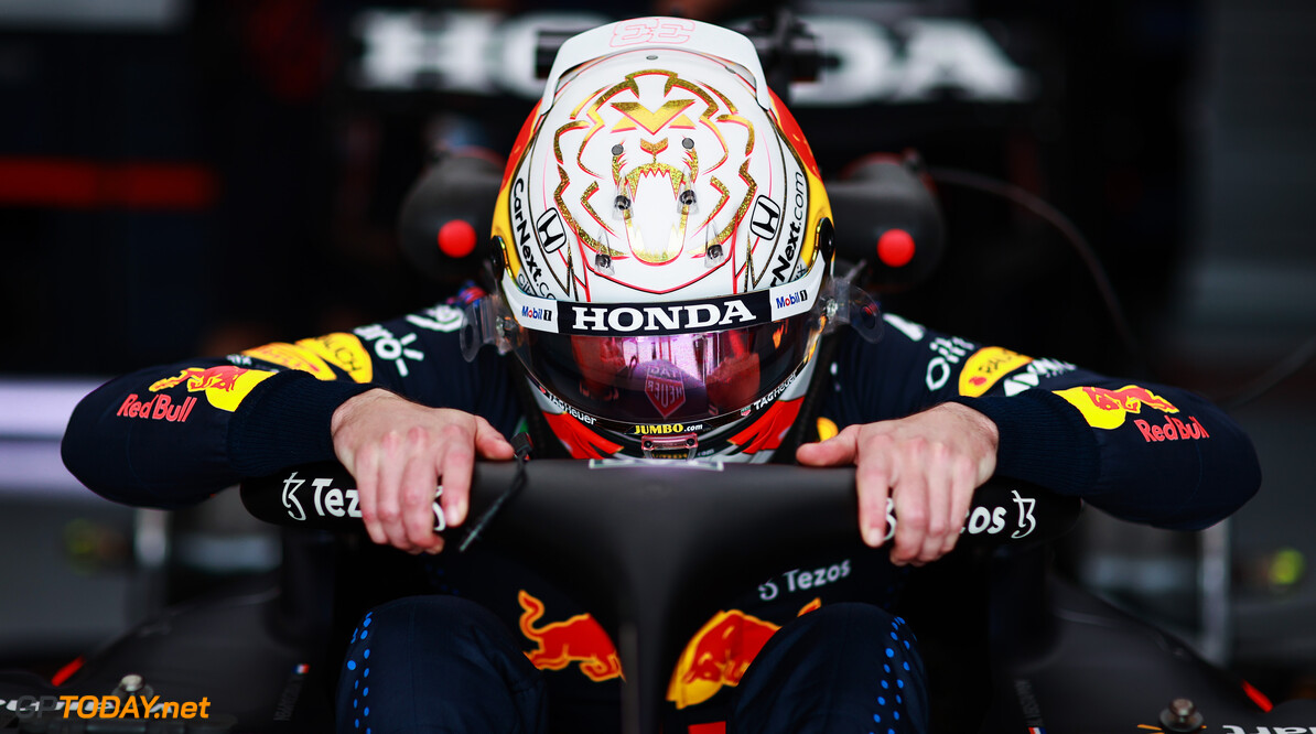 LE CASTELLET, FRANCE - JUNE 18: Max Verstappen of Netherlands and Red Bull Racing prepares to drive in the garage during practice ahead of the F1 Grand Prix of France at Circuit Paul Ricard on June 18, 2021 in Le Castellet, France. (Photo by Mark Thompson/Getty Images) // Getty Images / Red Bull Content Pool  // SI202106180439 // Usage for editorial use only //  F1 Grand Prix of France - Practice     SI202106180439