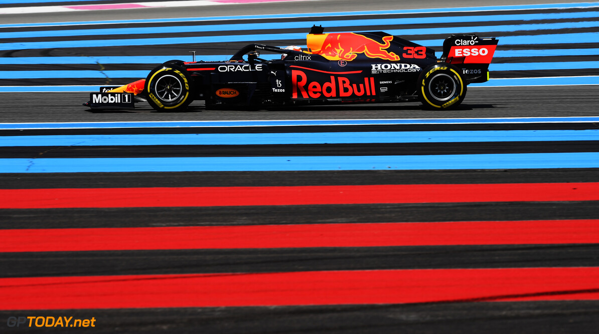 LE CASTELLET, FRANCE - JUNE 18: Max Verstappen of the Netherlands driving the (33) Red Bull Racing RB16B Honda on track during practice ahead of the F1 Grand Prix of France at Circuit Paul Ricard on June 18, 2021 in Le Castellet, France. (Photo by Rudy Carezzevoli/Getty Images) // Getty Images / Red Bull Content Pool  // SI202106180356 // Usage for editorial use only //  F1 Grand Prix of France - Practice     SI202106180356