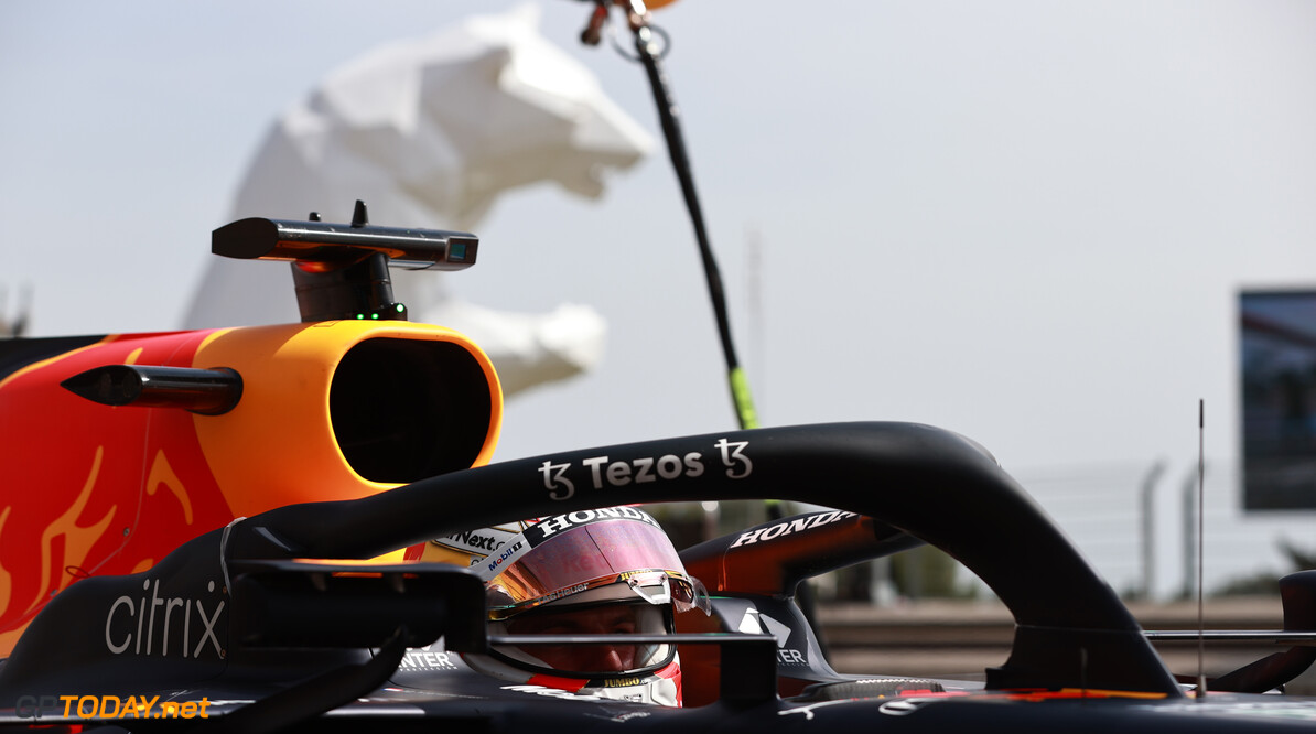 LE CASTELLET, FRANCE - JUNE 18: Max Verstappen of the Netherlands driving the (33) Red Bull Racing RB16B Honda stops in the Pitlane during practice ahead of the F1 Grand Prix of France at Circuit Paul Ricard on June 18, 2021 in Le Castellet, France. (Photo by Mark Thompson/Getty Images) // Getty Images / Red Bull Content Pool  // SI202106180528 // Usage for editorial use only //  F1 Grand Prix of France - Practice     SI202106180528