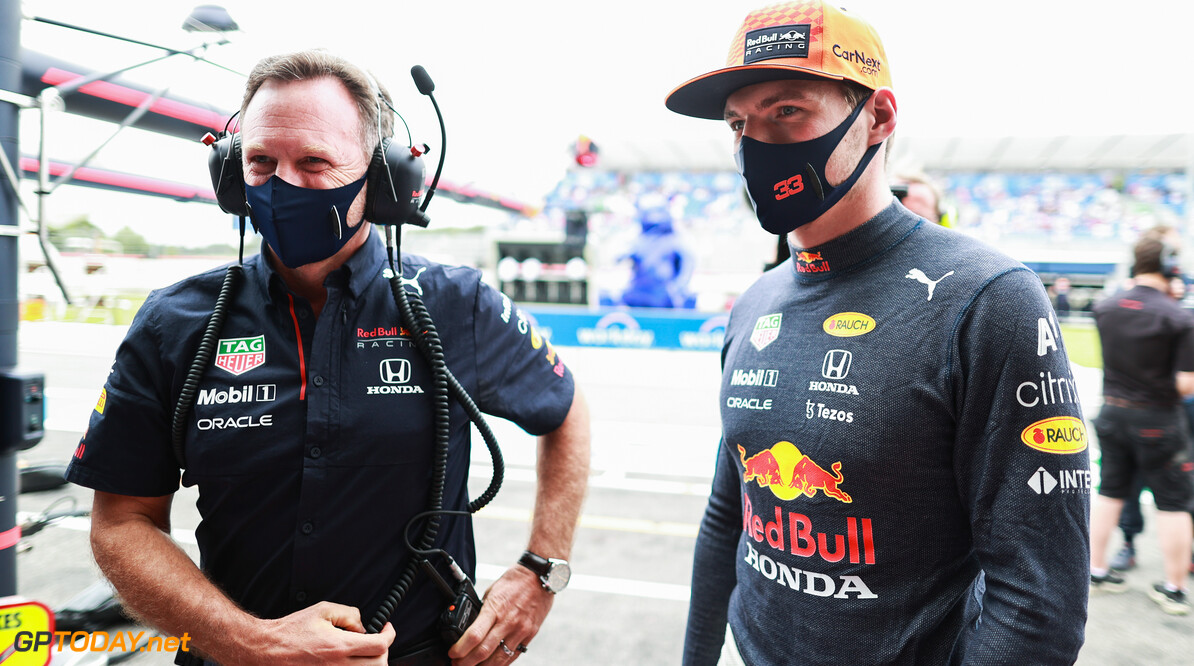LE CASTELLET, FRANCE - JUNE 19: Max Verstappen of Netherlands and Red Bull Racing talks with Red Bull Racing Team Principal Christian Horner during final practice ahead of the F1 Grand Prix of France at Circuit Paul Ricard on June 19, 2021 in Le Castellet, France. (Photo by Mark Thompson/Getty Images) // Getty Images / Red Bull Content Pool  // SI202106190089 // Usage for editorial use only //  F1 Grand Prix of France - Final Practice     SI202106190089