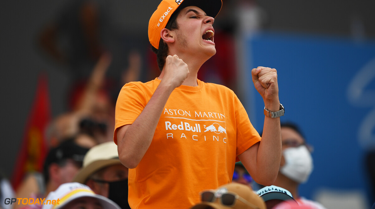 LE CASTELLET, FRANCE - JUNE 19: A fan of Red Bull Racing shows their support during qualifying ahead of the F1 Grand Prix of France at Circuit Paul Ricard on June 19, 2021 in Le Castellet, France. (Photo by Rudy Carezzevoli/Getty Images) // Getty Images / Red Bull Content Pool  // SI202106190230 // Usage for editorial use only //  F1 Grand Prix of France - Qualifying     SI202106190230