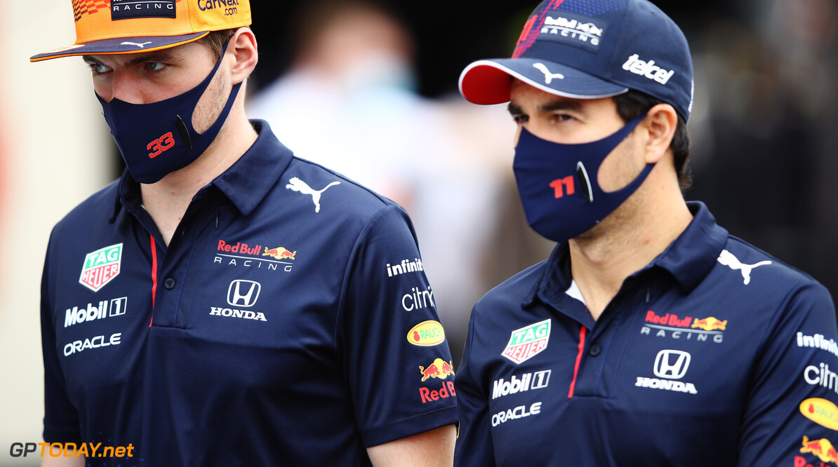LE CASTELLET, FRANCE - JUNE 20: Max Verstappen of Netherlands and Red Bull Racing and Sergio Perez of Mexico and Red Bull Racing look on prior to the F1 Grand Prix of France at Circuit Paul Ricard on June 20, 2021 in Le Castellet, France. (Photo by Mark Thompson/Getty Images) // Getty Images / Red Bull Content Pool  // SI202106200197 // Usage for editorial use only //  F1 Grand Prix of France     SI202106200197