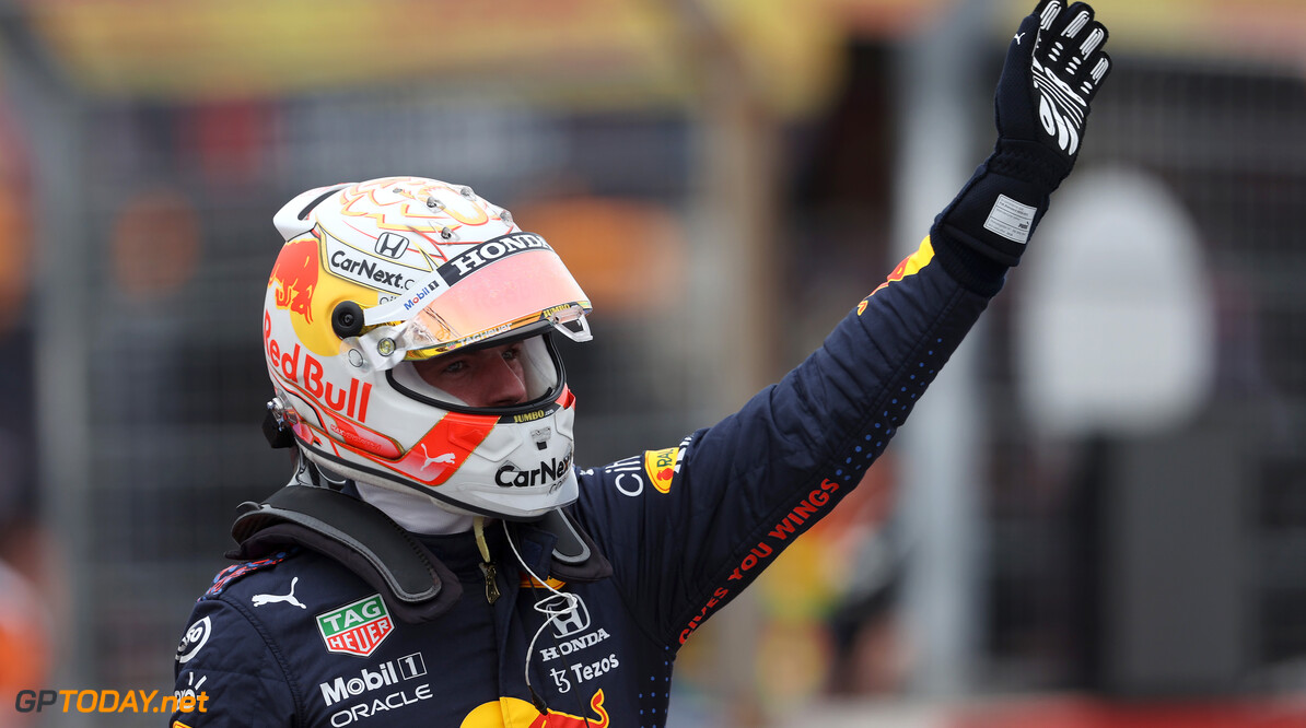 LE CASTELLET, FRANCE - JUNE 19: Pole position qualifier Max Verstappen of Netherlands and Red Bull Racing celebrates in parc ferme during qualifying ahead of the F1 Grand Prix of France at Circuit Paul Ricard on June 19, 2021 in Le Castellet, France. (Photo by Clive Rose/Getty Images) // Getty Images / Red Bull Content Pool  // SI202106190316 // Usage for editorial use only //  F1 Grand Prix of France - Qualifying     SI202106190316