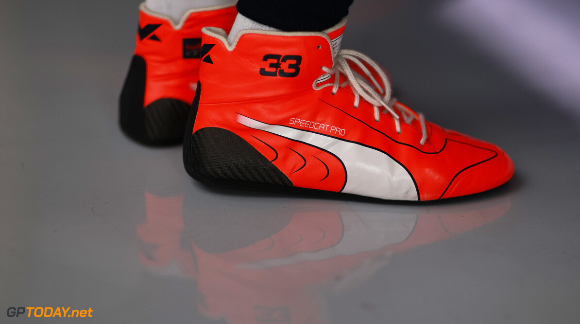 LE CASTELLET, FRANCE - JUNE 19: A detailed view of the Puma Speedcat Pro shoes of Max Verstappen of Netherlands and Red Bull Racing in the garage during qualifying ahead of the F1 Grand Prix of France at Circuit Paul Ricard on June 19, 2021 in Le Castellet, France. (Photo by Mark Thompson/Getty Images) // Getty Images / Red Bull Content Pool  // SI202106190241 // Usage for editorial use only //  F1 Grand Prix of France - Qualifying     SI202106190241