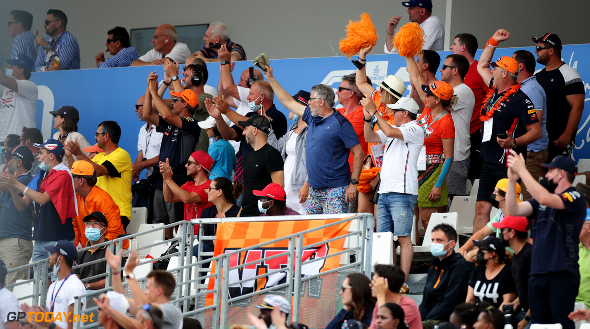 LE CASTELLET, FRANCE - JUNE 20: Fans show their support for Max Verstappen of Netherlands and Red Bull Racing during the F1 Grand Prix of France at Circuit Paul Ricard on June 20, 2021 in Le Castellet, France. (Photo by Peter Fox/Getty Images) // Getty Images / Red Bull Content Pool  // SI202106200404 // Usage for editorial use only //  F1 Grand Prix of France     SI202106200404