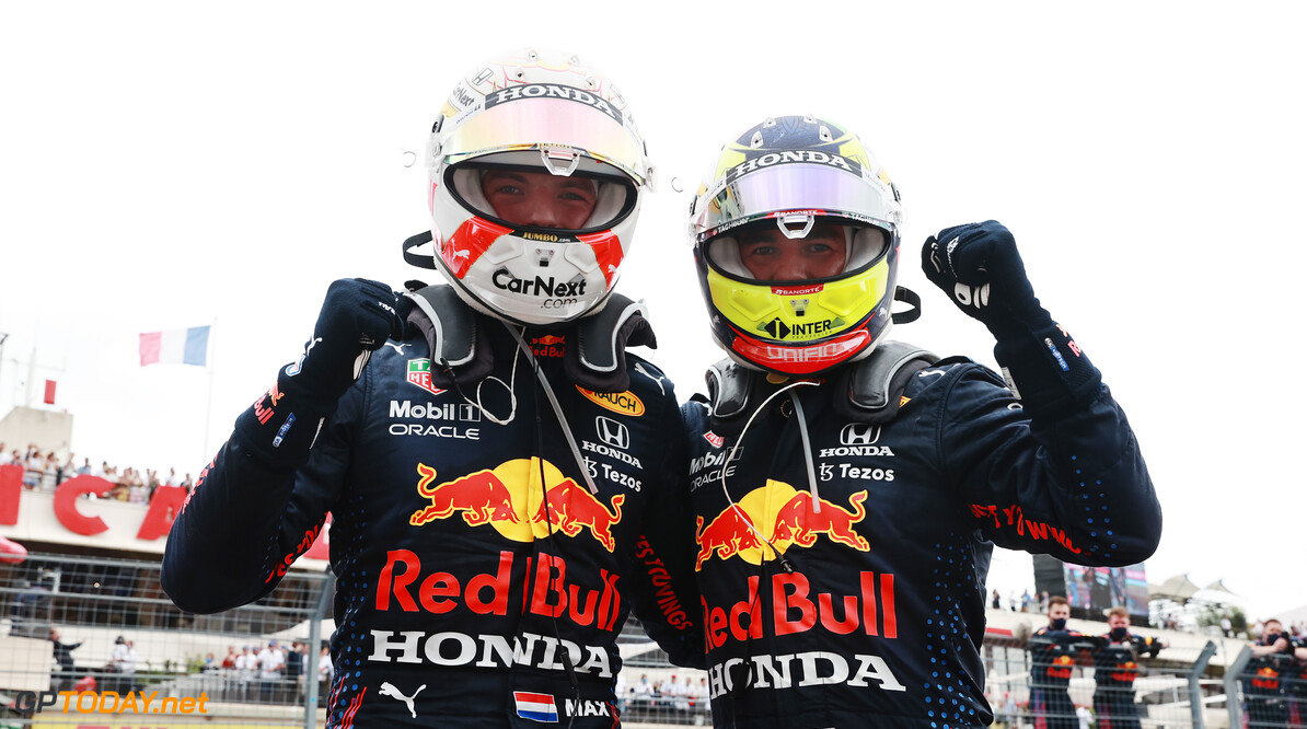 LE CASTELLET, FRANCE - JUNE 20: Race winner Max Verstappen of Netherlands and Red Bull Racing and third placed Sergio Perez of Mexico and Red Bull Racing celebrate in parc ferme during the F1 Grand Prix of France at Circuit Paul Ricard on June 20, 2021 in Le Castellet, France. (Photo by Mark Thompson/Getty Images) // Getty Images / Red Bull Content Pool  // SI202106200420 // Usage for editorial use only //  F1 Grand Prix of France     SI202106200420