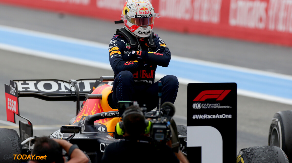 LE CASTELLET, FRANCE - JUNE 20: Race winner Max Verstappen of Netherlands and Red Bull Racing celebrates in parc ferme during the F1 Grand Prix of France at Circuit Paul Ricard on June 20, 2021 in Le Castellet, France. (Photo by Peter Fox/Getty Images) // Getty Images / Red Bull Content Pool  // SI202106200417 // Usage for editorial use only //  F1 Grand Prix of France     SI202106200417