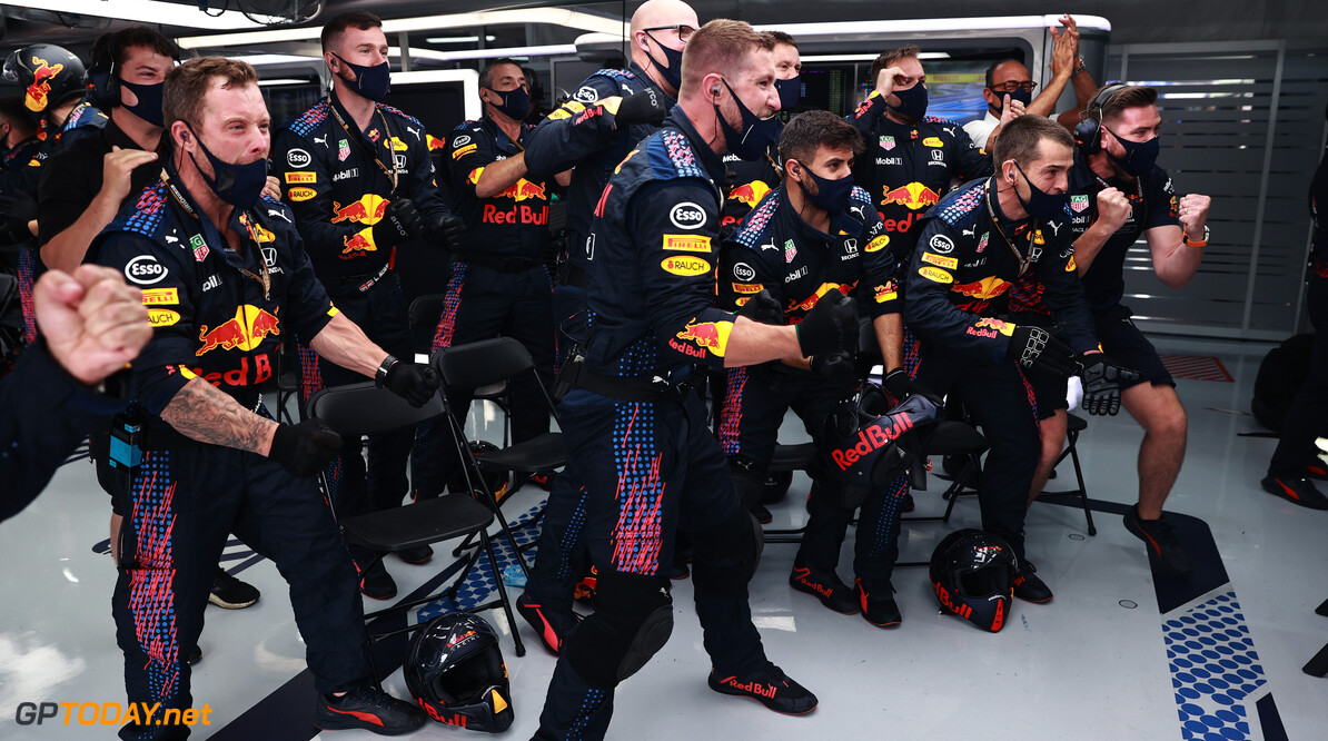 LE CASTELLET, FRANCE - JUNE 20: Red Bull Racing team members celebrate in the garage during the F1 Grand Prix of France at Circuit Paul Ricard on June 20, 2021 in Le Castellet, France. (Photo by Mark Thompson/Getty Images) // Getty Images / Red Bull Content Pool  // SI202106200414 // Usage for editorial use only //  F1 Grand Prix of France     SI202106200414