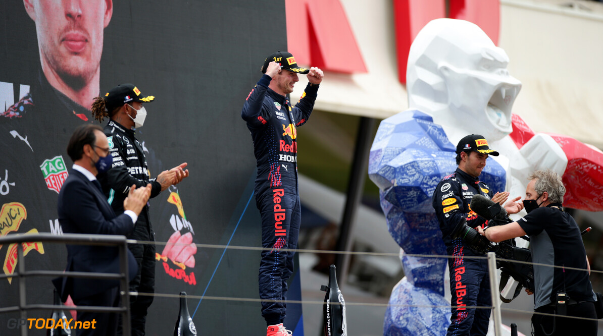 LE CASTELLET, FRANCE - JUNE 20: Race winner Max Verstappen of Netherlands and Red Bull Racing celebrates on the podium during the F1 Grand Prix of France at Circuit Paul Ricard on June 20, 2021 in Le Castellet, France. (Photo by Peter Fox/Getty Images) // Getty Images / Red Bull Content Pool  // SI202106200426 // Usage for editorial use only //  F1 Grand Prix of France     SI202106200426