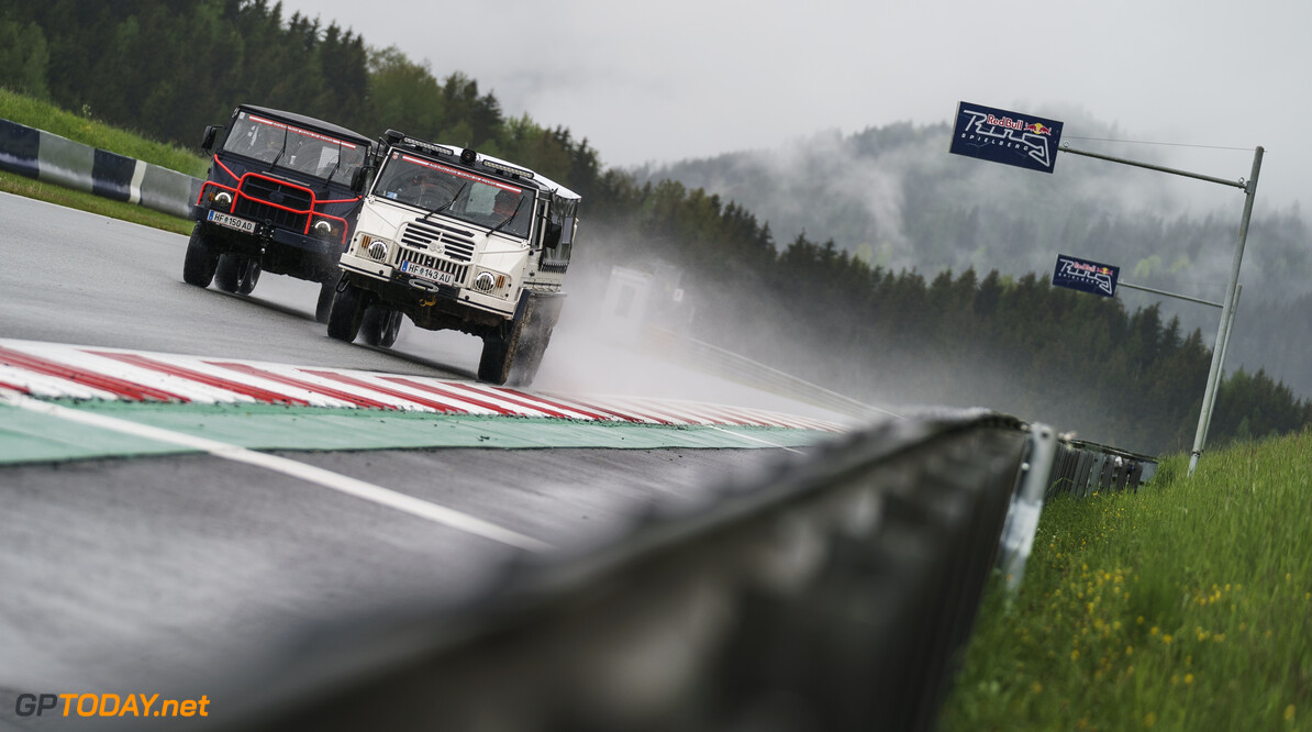 Max Verstappen, Sergio Perez, Yuki Tsunoda and Pierre Gasly perform during the Red Bull Schnitzeljagd at the Grundlsee, Austria on May 16, 2021 // SI202106210038 // Usage for editorial use only //  Max Verstappen, Sergio Perez, Yuki Tsunoda, Pierre Gasly     SI202106210038