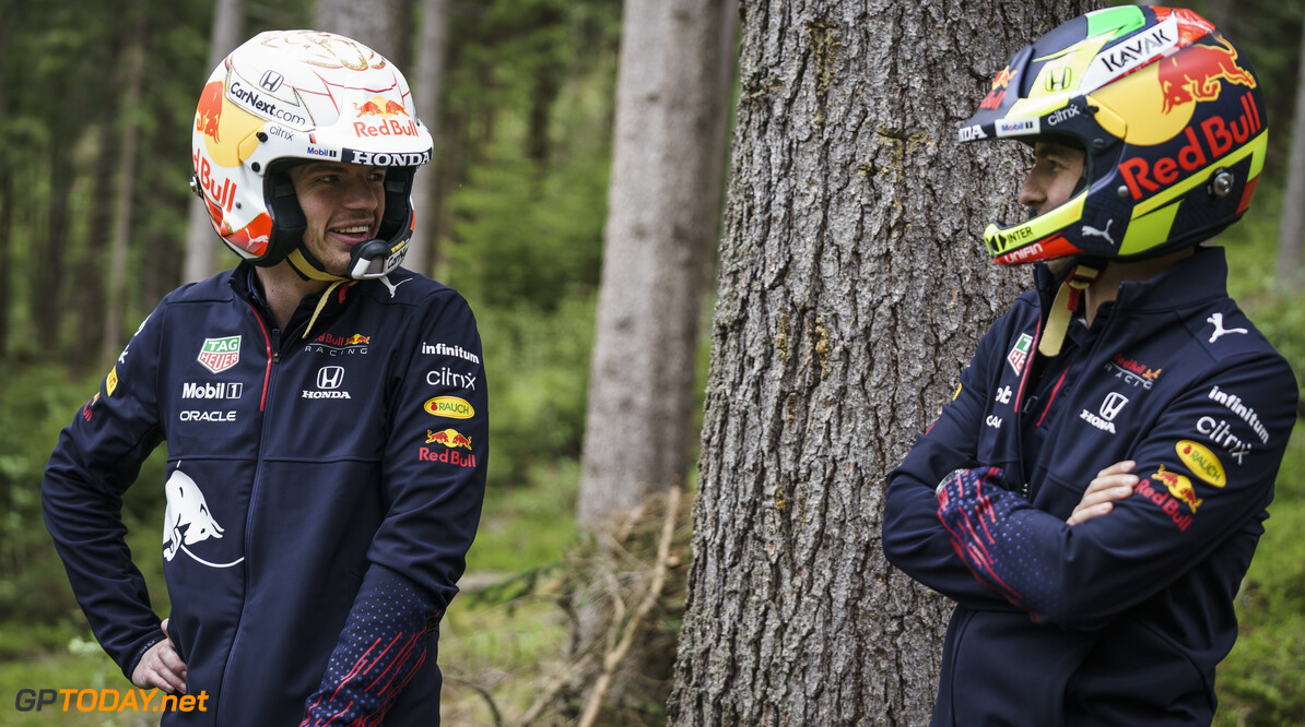 Max Verstappen and Sergio Perez seen during the Red Bull Schnitzeljagd at the Grundlsee, Austria on May 16, 2021 // SI202106210060 // Usage for editorial use only //  Max Verstappen, Sergio Perez     SI202106210060