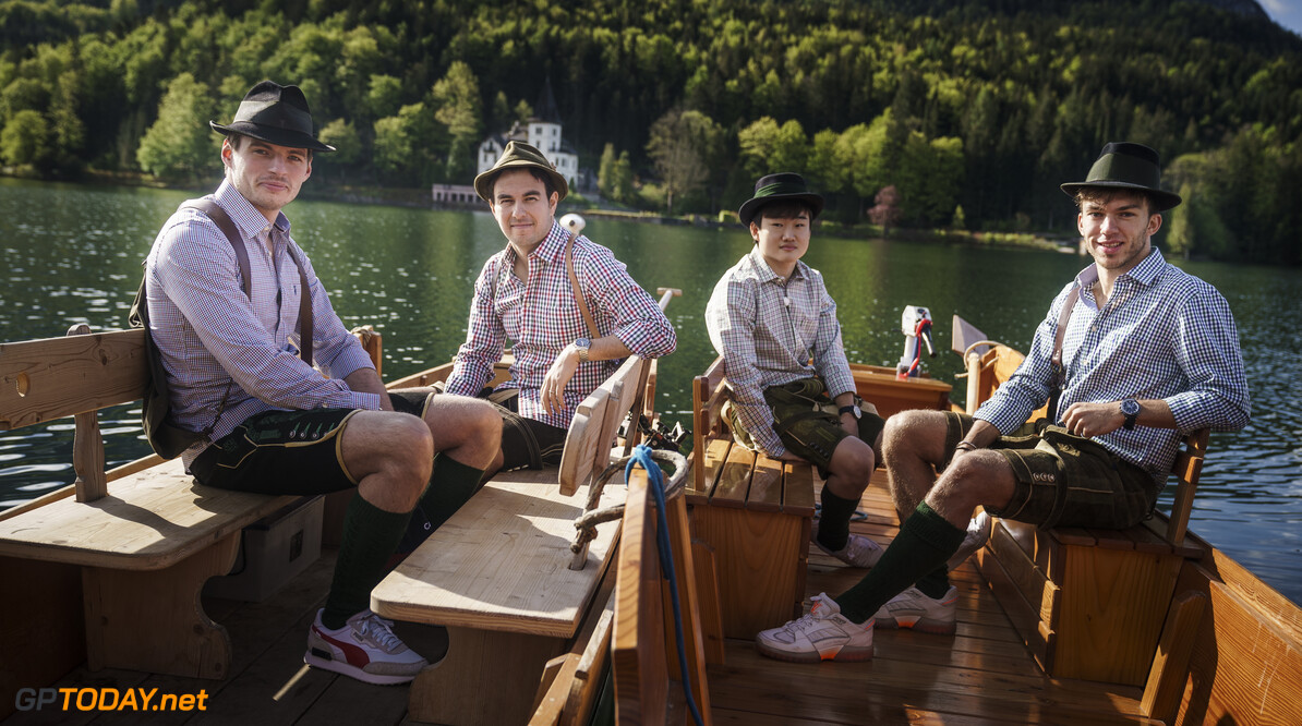 Max Verstappen, Sergio Perez, Yuki Tsunoda and Pierre Gasly  seen during the Red Bull Schnitzeljagd at the Grundlsee, Austria on May 16, 2021 // SI202106210033 // Usage for editorial use only //  Max Verstappen, Sergio Perez, Yuki Tsunoda, Pierre Gasly     SI202106210033