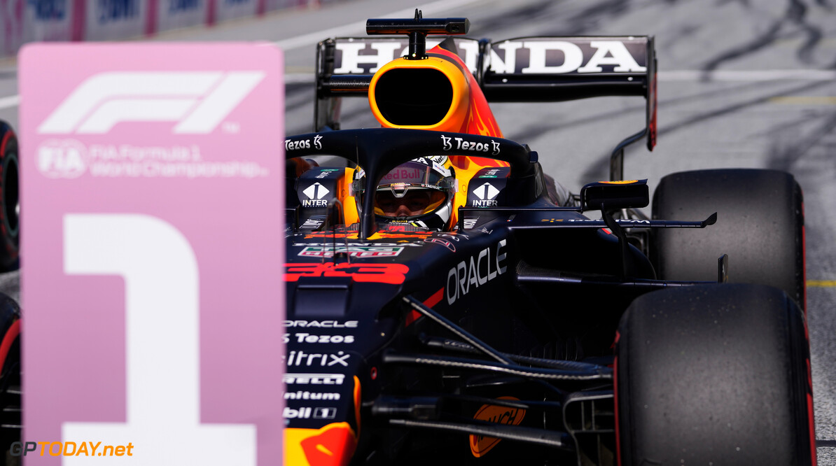 SPIELBERG, AUSTRIA - JUNE 26: Pole position qualifier Max Verstappen of Netherlands and Red Bull Racing stops in parc ferme during qualifying ahead of the F1 Grand Prix of Styria at Red Bull Ring on June 26, 2021 in Spielberg, Austria. (Photo by Darko Vojinovic - Pool/Getty Images) // Getty Images / Red Bull Content Pool  // SI202106260286 // Usage for editorial use only //  F1 Grand Prix of Styria - Qualifying     SI202106260286