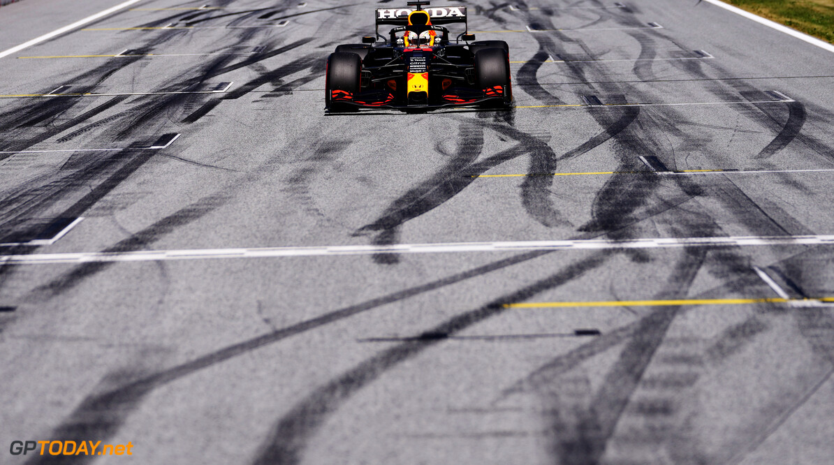 SPIELBERG, AUSTRIA - JUNE 26: Pole position qualifier Max Verstappen of Netherlands and Red Bull Racing pulls into parc ferme during qualifying ahead of the F1 Grand Prix of Styria at Red Bull Ring on June 26, 2021 in Spielberg, Austria. (Photo by Darko Vojinovic - Pool/Getty Images) // Getty Images / Red Bull Content Pool  // SI202106260282 // Usage for editorial use only //  F1 Grand Prix of Styria - Qualifying     SI202106260282