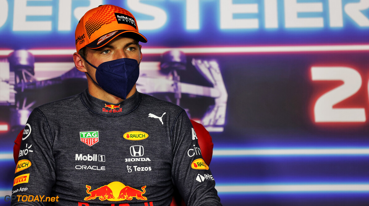 SPIELBERG, AUSTRIA - JUNE 26: Pole position qualifier Max Verstappen of Netherlands and Red Bull Racing talks in the press conference after qualifying ahead of the F1 Grand Prix of Styria at Red Bull Ring on June 26, 2021 in Spielberg, Austria. (Photo by Russell Batchelor - Pool/Getty Images) // Getty Images / Red Bull Content Pool  // SI202106260470 // Usage for editorial use only //  F1 Grand Prix of Styria - Qualifying     SI202106260470
