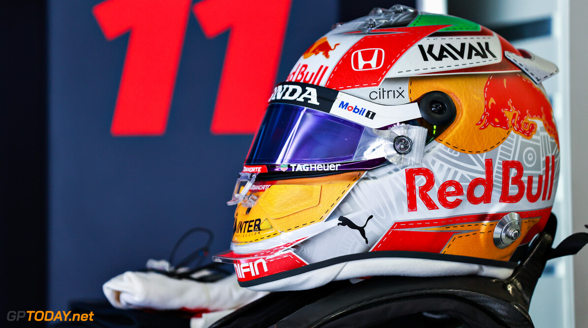 SPIELBERG, AUSTRIA - JUNE 27: The helmet of Sergio Perez of Mexico and Red Bull Racing is pictured in the garage ahead of the F1 Grand Prix of Styria at Red Bull Ring on June 27, 2021 in Spielberg, Austria. (Photo by Mark Thompson/Getty Images) // Getty Images / Red Bull Content Pool  // SI202106270167 // Usage for editorial use only //  F1 Grand Prix of Styria     SI202106270167
