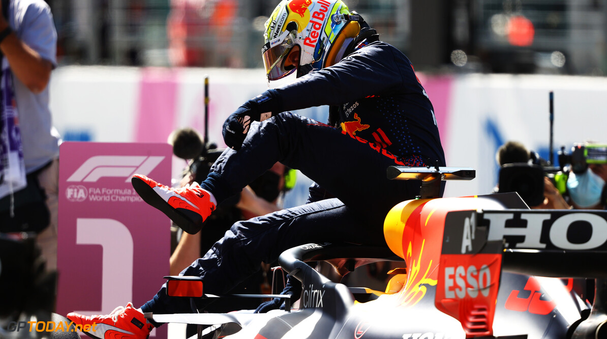 SPIELBERG, AUSTRIA - JUNE 26: Pole position qualifier Max Verstappen of Netherlands and Red Bull Racing celebrates in parc ferme during qualifying ahead of the F1 Grand Prix of Styria at Red Bull Ring on June 26, 2021 in Spielberg, Austria. (Photo by Bryn Lennon/Getty Images) // Getty Images / Red Bull Content Pool  // SI202106260299 // Usage for editorial use only //  F1 Grand Prix of Styria - Qualifying     SI202106260299