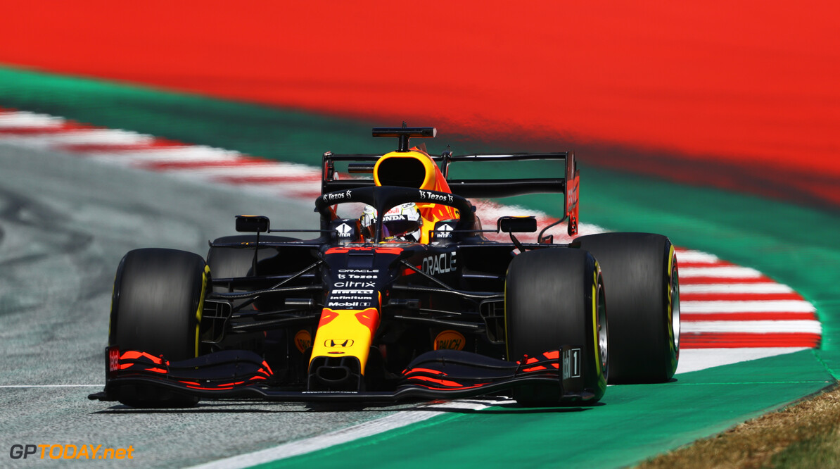 SPIELBERG, AUSTRIA - JULY 03: Max Verstappen of the Netherlands driving the (33) Red Bull Racing RB16B Honda during qualifying ahead of the F1 Grand Prix of Austria at Red Bull Ring on July 03, 2021 in Spielberg, Austria. (Photo by Bryn Lennon/Getty Images) // Getty Images / Red Bull Content Pool  // SI202107030306 // Usage for editorial use only //  F1 Grand Prix of Austria - Qualifying     SI202107030306