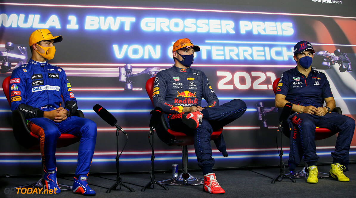 SPIELBERG, AUSTRIA - JULY 03: Pole position qualifier Max Verstappen of Netherlands and Red Bull Racing, second place qualifier Lando Norris of Great Britain and McLaren F1 and third place qualifier Sergio Perez of Mexico and Red Bull Racing talk in the drivers press conference after qualifying ahead of the F1 Grand Prix of Austria at Red Bull Ring on July 03, 2021 in Spielberg, Austria. (Photo by Joao Filipe - Pool/Getty Images) // Getty Images / Red Bull Content Pool  // SI202107030571 // Usage for editorial use only //  F1 Grand Prix of Austria - Qualifying     SI202107030571