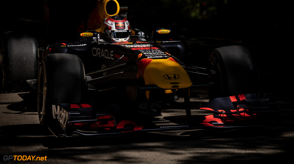 CHICHESTER, ENGLAND - JULY 09: Liam Lawson of New Zealand and Red Bull Racing drives during the Goodwood Festival of Speed at Goodwood on July 09, 2021 in Chichester, England. (Photo by James Bearne/Getty Images) // SI202107090254 // Usage for editorial use only //  Goodwood Festival of Speed 2021     SI202107090254