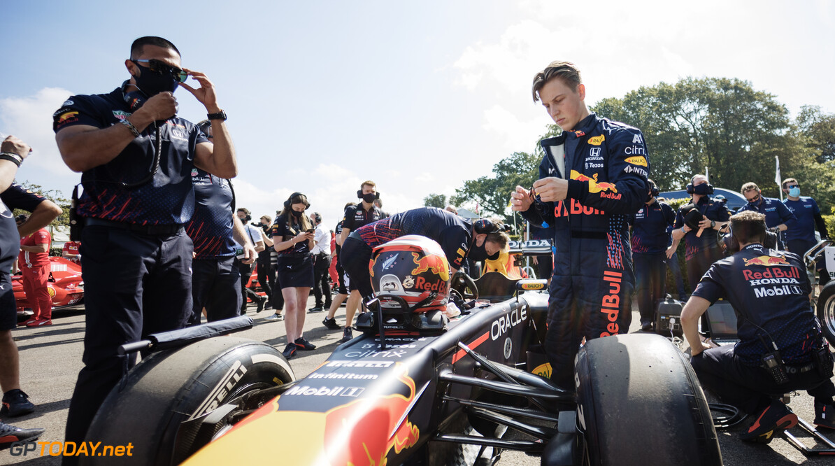 CHICHESTER, ENGLAND - JULY 09: Liam Lawson of New Zealand and Red Bull Racing prepares to drive during the Goodwood Festival of Speed at Goodwood on July 09, 2021 in Chichester, England. (Photo by James Bearne/Getty Images) // SI202107100092 // Usage for editorial use only //  Goodwood Festival of Speed 2021     SI202107100092