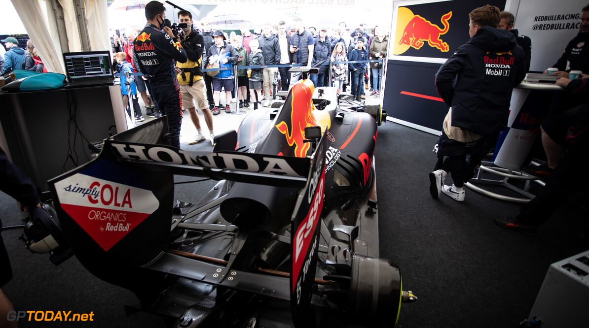 CHICHESTER, ENGLAND - JULY 10: Alex Albon of Thailand and Red Bull Racing prepares to drive during the Goodwood Festival of Speed at Goodwood on July 10, 2021 in Chichester, England. (Photo by James Bearne/Getty Images) // SI202107100124 // Usage for editorial use only //  Goodwood Festival of Speed 2021     SI202107100124