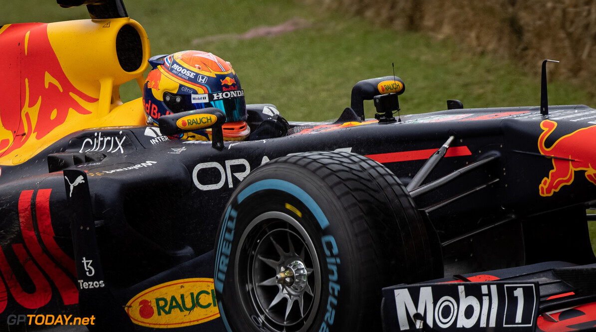 CHICHESTER, ENGLAND - JULY 10: Alex Albon of Thailand and Red Bull Racing drives during the Goodwood Festival of Speed at Goodwood on July 10, 2021 in Chichester, England. (Photo by James Bearne/Getty Images) // SI202107100125 // Usage for editorial use only //  Goodwood Festival of Speed 2021     SI202107100125