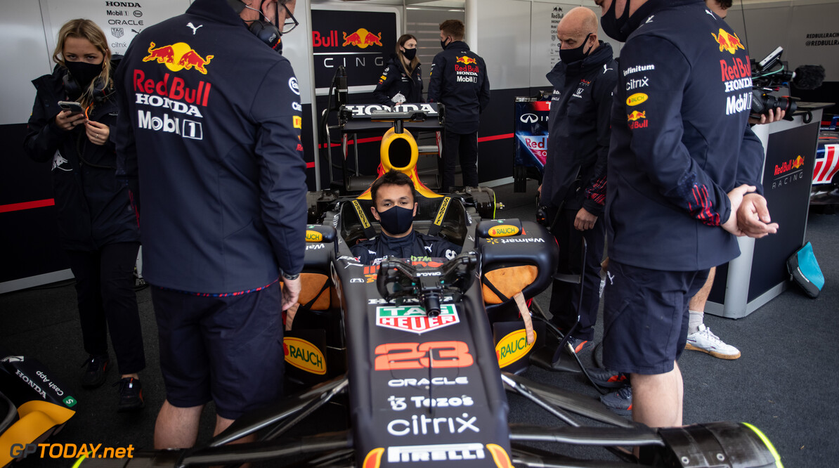 CHICHESTER, ENGLAND - JULY 10: Alex Albon of Thailand and Red Bull Racing prepares to drive during the Goodwood Festival of Speed at Goodwood on July 10, 2021 in Chichester, England. (Photo by James Bearne/Getty Images) // SI202107100123 // Usage for editorial use only //  Goodwood Festival of Speed 2021     SI202107100123