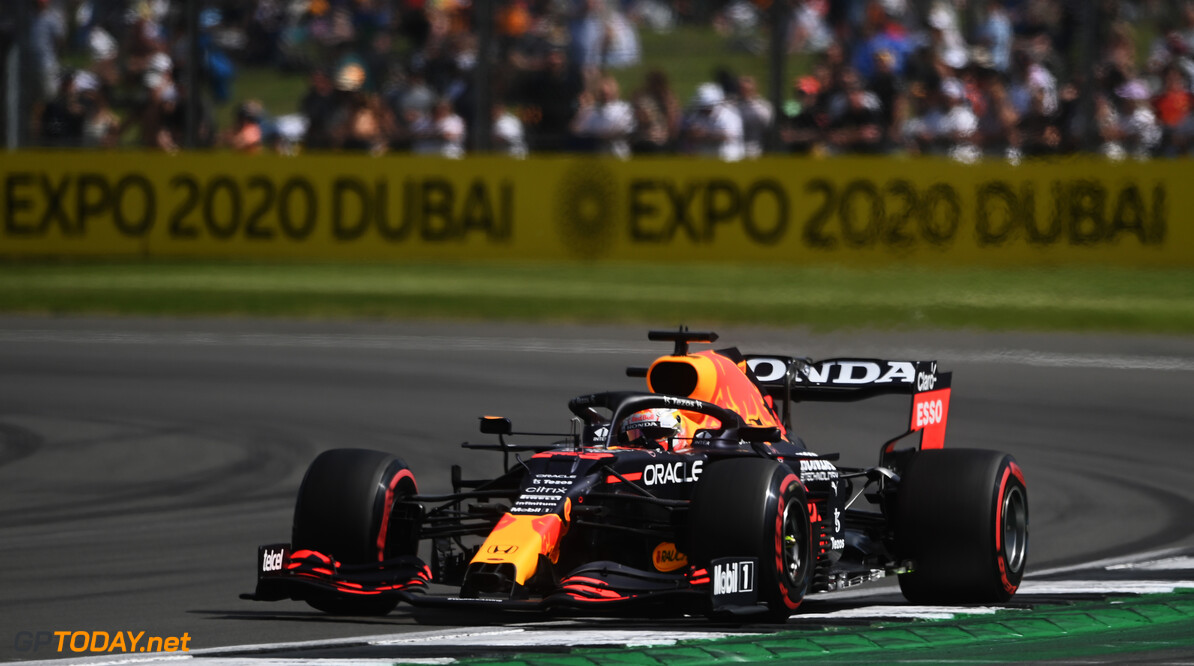 NORTHAMPTON, ENGLAND - JULY 16: Max Verstappen of the Netherlands driving the (33) Red Bull Racing RB16B Honda during practice ahead of the F1 Grand Prix of Great Britain at Silverstone on July 16, 2021 in Northampton, England. (Photo by Michael Regan/Getty Images) // Getty Images / Red Bull Content Pool  // SI202107160322 // Usage for editorial use only //  F1 Grand Prix of Great Britain - Practice & Qualifying     SI202107160322