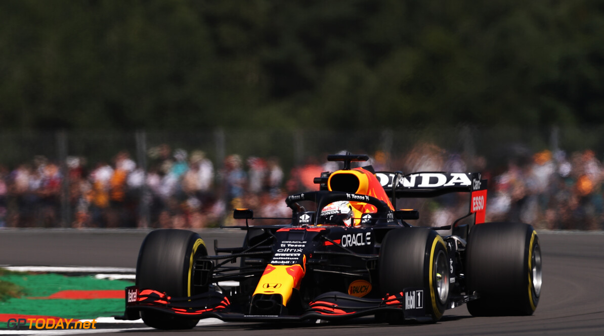 NORTHAMPTON, ENGLAND - JULY 17: Max Verstappen of the Netherlands driving the (33) Red Bull Racing RB16B Honda during practice ahead of the F1 Grand Prix of Great Britain at Silverstone on July 17, 2021 in Northampton, England. (Photo by Lars Baron/Getty Images) // Getty Images / Red Bull Content Pool  // SI202107170157 // Usage for editorial use only //  F1 Grand Prix of Great Britain - Practice     SI202107170157