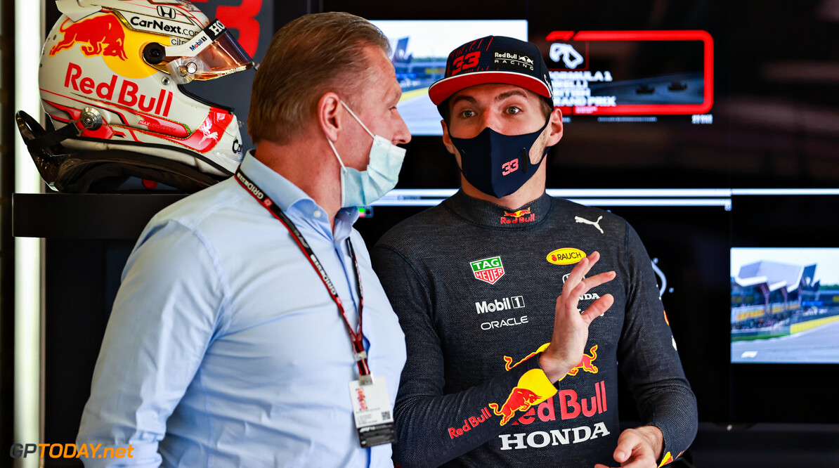 NORTHAMPTON, ENGLAND - JULY 17: Max Verstappen of Netherlands and Red Bull Racing talks with his father Jos Verstappen in the garage before the Sprint for the F1 Grand Prix of Great Britain at Silverstone on July 17, 2021 in Northampton, England. (Photo by Mark Thompson/Getty Images) // Getty Images / Red Bull Content Pool  // SI202107170223 // Usage for editorial use only //  F1 Grand Prix of Great Britain - Sprint     SI202107170223