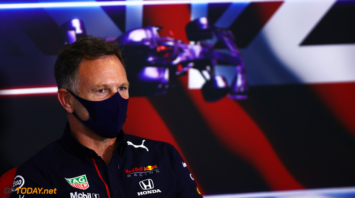 NORTHAMPTON, ENGLAND - JULY 16: Red Bull Racing Team Principal Christian Horner talks in the Team Principals Press Conference after practice ahead of the F1 Grand Prix of Great Britain at Silverstone on July 16, 2021 in Northampton, England. (Photo by Dan Istitene/Getty Images) // Getty Images / Red Bull Content Pool  // SI202107160360 // Usage for editorial use only //  F1 Grand Prix of Great Britain - Practice & Qualifying     SI202107160360