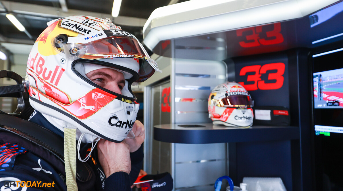 NORTHAMPTON, ENGLAND - JULY 17: Max Verstappen of Netherlands and Red Bull Racing prepares to drive in the garage during practice ahead of the F1 Grand Prix of Great Britain at Silverstone on July 17, 2021 in Northampton, England. (Photo by Mark Thompson/Getty Images) // Getty Images / Red Bull Content Pool  // SI202107170200 // Usage for editorial use only //  F1 Grand Prix of Great Britain - Practice     SI202107170200