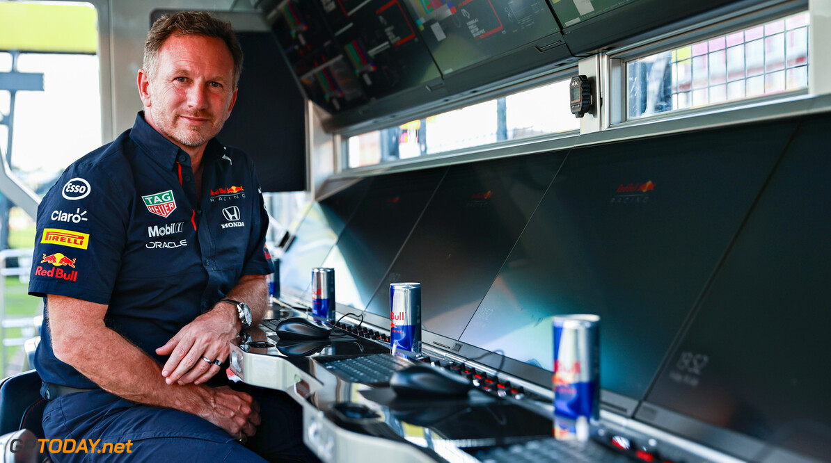 NORTHAMPTON, ENGLAND - JULY 16: Red Bull Racing Team Principal Christian Horner looks on from the pitwall during qualifying ahead of the F1 Grand Prix of Great Britain at Silverstone on July 16, 2021 in Northampton, England. (Photo by Mark Thompson/Getty Images) // Getty Images / Red Bull Content Pool  // SI202107160396 // Usage for editorial use only //  F1 Grand Prix of Great Britain - Practice & Qualifying     SI202107160396