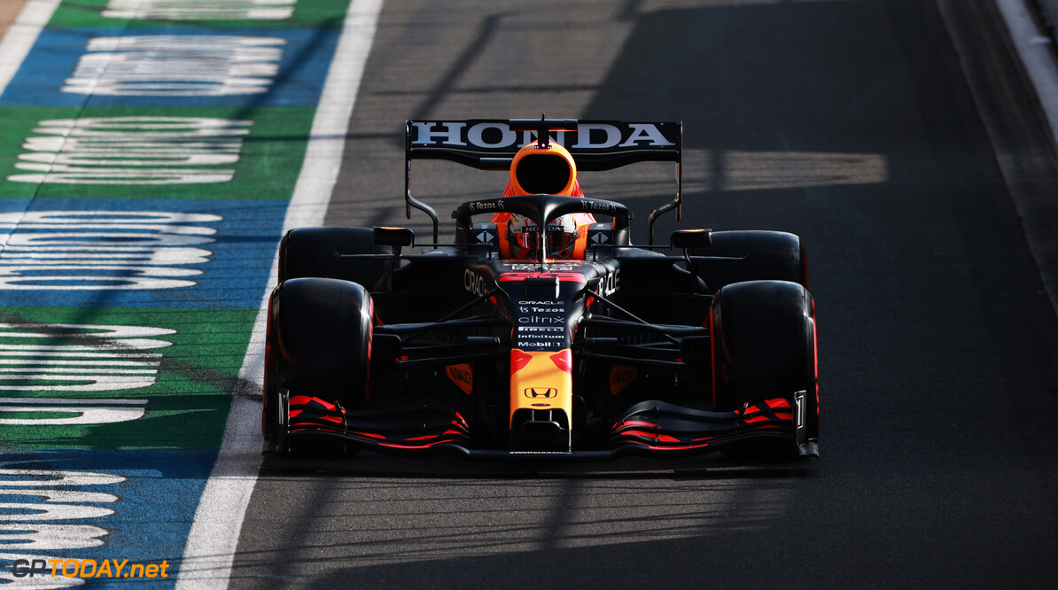 NORTHAMPTON, ENGLAND - JULY 16: Max Verstappen of the Netherlands driving the (33) Red Bull Racing RB16B Honda in the Pitlane during qualifying ahead of the F1 Grand Prix of Great Britain at Silverstone on July 16, 2021 in Northampton, England. (Photo by Mark Thompson/Getty Images) // Getty Images / Red Bull Content Pool  // SI202107160377 // Usage for editorial use only //  F1 Grand Prix of Great Britain - Practice & Qualifying     SI202107160377