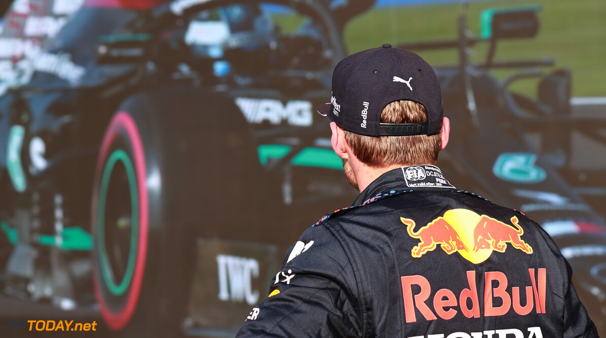NORTHAMPTON, ENGLAND - JULY 16: Second fastest qualifier Max Verstappen of Netherlands and Red Bull Racing looks on in parc ferme during qualifying ahead of the F1 Grand Prix of Great Britain at Silverstone on July 16, 2021 in Northampton, England. (Photo by Mark Thompson/Getty Images) // Getty Images / Red Bull Content Pool  // SI202107160336 // Usage for editorial use only //  F1 Grand Prix of Great Britain - Practice & Qualifying     SI202107160336