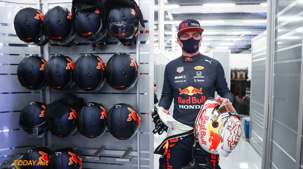 NORTHAMPTON, ENGLAND - JULY 16: Max Verstappen of Netherlands and Red Bull Racing prepares to drive in the garage during practice ahead of the F1 Grand Prix of Great Britain at Silverstone on July 16, 2021 in Northampton, England. (Photo by Mark Thompson/Getty Images) // Getty Images / Red Bull Content Pool  // SI202107160330 // Usage for editorial use only //  F1 Grand Prix of Great Britain - Practice & Qualifying     SI202107160330