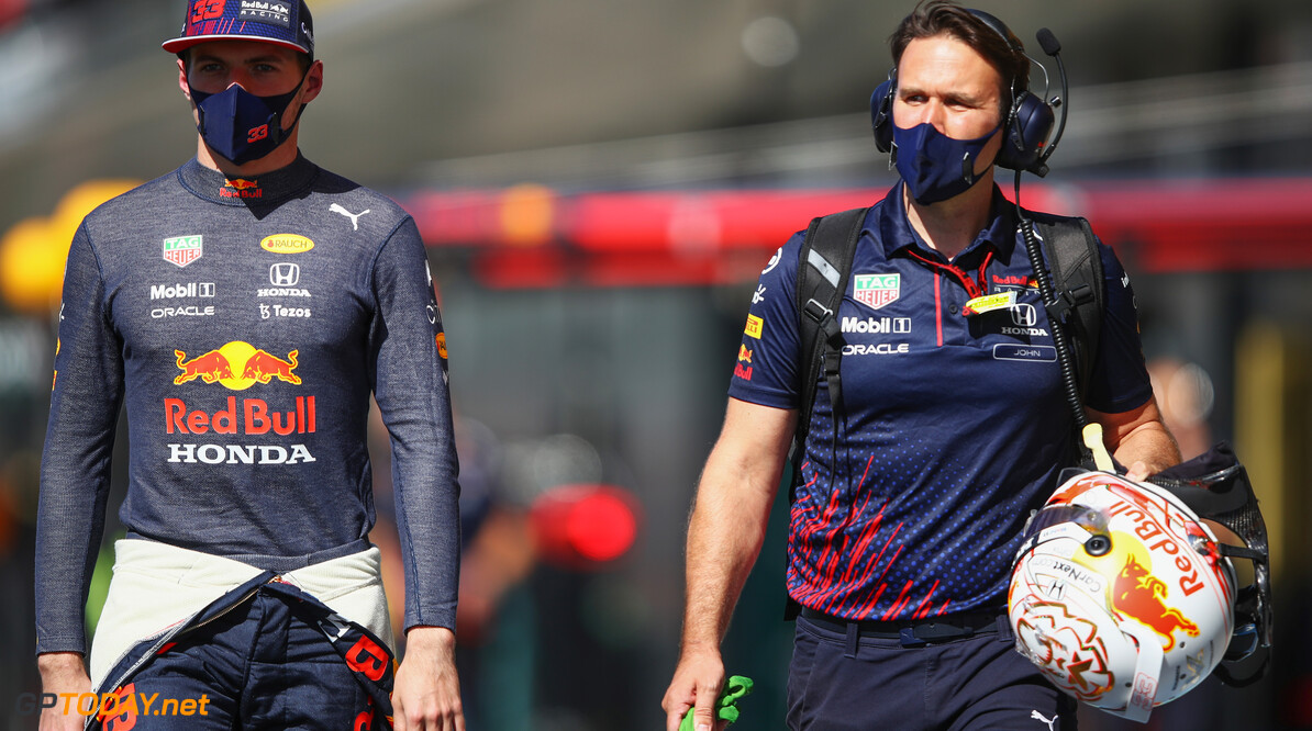 NORTHAMPTON, ENGLAND - JULY 17: Max Verstappen of Netherlands and Red Bull Racing prepares to drive on the grid before the Sprint for the F1 Grand Prix of Great Britain at Silverstone on July 17, 2021 in Northampton, England. (Photo by Mark Thompson/Getty Images) // Getty Images / Red Bull Content Pool  // SI202107170230 // Usage for editorial use only //  F1 Grand Prix of Great Britain - Sprint     SI202107170230