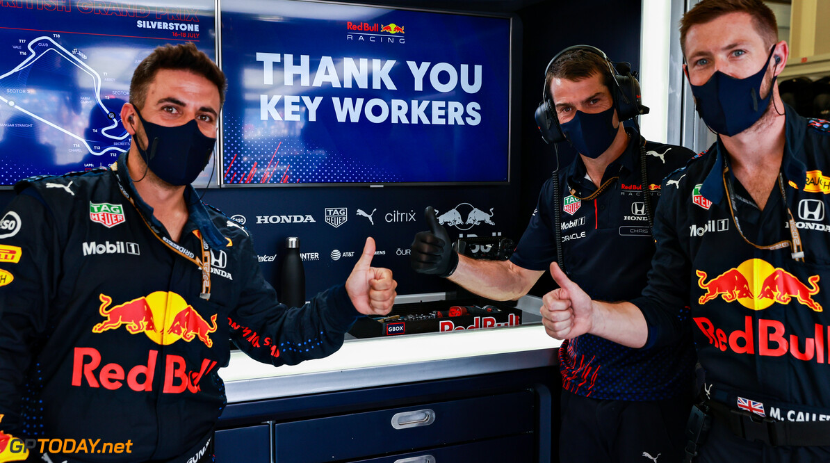 NORTHAMPTON, ENGLAND - JULY 18: The Red Bull Racing team post a message to say Thank You to the Key Workers during the COVID-19 pandemic before the F1 Grand Prix of Great Britain at Silverstone on July 18, 2021 in Northampton, England. (Photo by Mark Thompson/Getty Images) // Getty Images / Red Bull Content Pool  // SI202107180104 // Usage for editorial use only //  F1 Grand Prix of Great Britain     SI202107180104