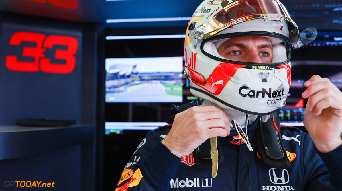 NORTHAMPTON, ENGLAND - JULY 17: Max Verstappen of Netherlands and Red Bull Racing prepares to drive in the garage before the Sprint for the F1 Grand Prix of Great Britain at Silverstone on July 17, 2021 in Northampton, England. (Photo by Mark Thompson/Getty Images) // Getty Images / Red Bull Content Pool  // SI202107170357 // Usage for editorial use only //  F1 Grand Prix of Great Britain - Sprint     SI202107170357