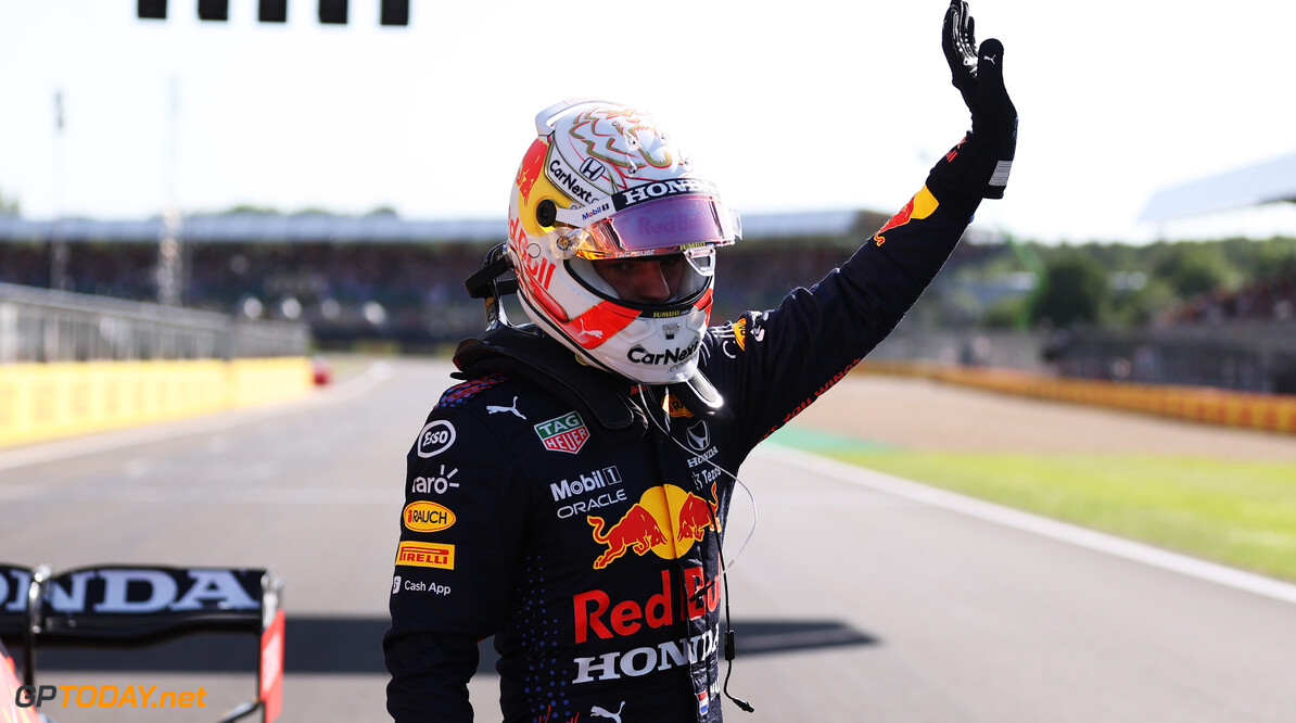 NORTHAMPTON, ENGLAND - JULY 17: Winner Max Verstappen of Netherlands and Red Bull Racing celebrates in parc ferme during the Sprint for the F1 Grand Prix of Great Britain at Silverstone on July 17, 2021 in Northampton, England. (Photo by Lars Baron/Getty Images) // Getty Images / Red Bull Content Pool  // SI202107170365 // Usage for editorial use only //  F1 Grand Prix of Great Britain - Sprint     SI202107170365