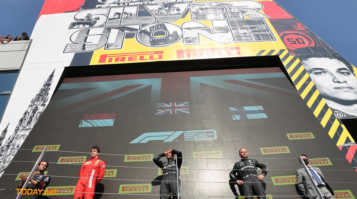 Formula One World Championship 2nd place Charles Leclerc (MON) Ferrari SF-21 with 1st place Valtteri Bottas (FIN) Mercedes AMG F1. 18.07.2021. Formula 1 World Championship, Rd 10, British Grand Prix, Silverstone, England, Race Day. - www.xpbimages.com, EMail: requests@xpbimages.com (C) Copyright: Batchelor / XPB Images Motor Racing - Formula One World Championship - British Grand Prix - Race Day - Silverstone, England XPB Images Silverstone England  July Formel1 Formel F1 Formula 1 Formula1 GP Grand Prix one Circuit Silverstone England Britain British United Kingdom UK Sunday 18 07 7 2021 Podium Portrait