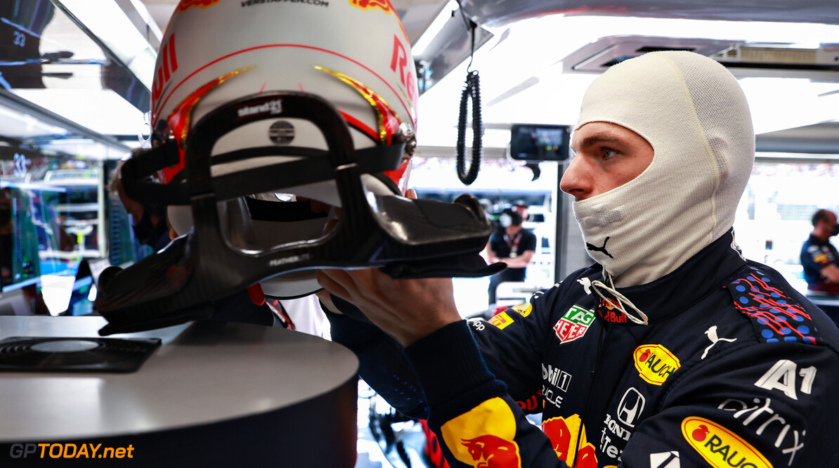 BUDAPEST, HUNGARY - JULY 31: Max Verstappen of Netherlands and Red Bull Racing prepares to drive in the garage during final practice ahead of the F1 Grand Prix of Hungary at Hungaroring on July 31, 2021 in Budapest, Hungary. (Photo by Mark Thompson/Getty Images) // Getty Images / Red Bull Content Pool  // SI202107310222 // Usage for editorial use only //  F1 Grand Prix of Hungary - Final Practice     SI202107310222