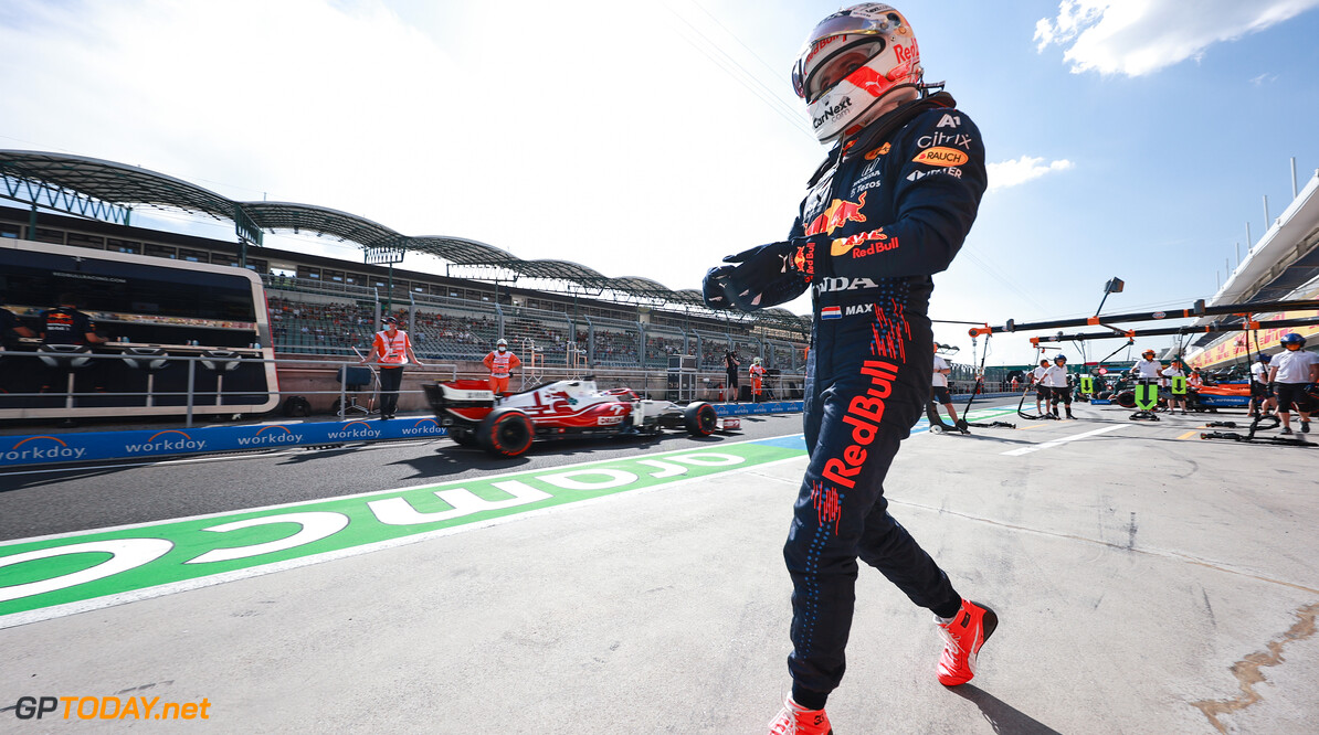 BUDAPEST, HUNGARY - JULY 30: Max Verstappen of Netherlands and Red Bull Racing walks in the Pitlane during practice ahead of the F1 Grand Prix of Hungary at Hungaroring on July 30, 2021 in Budapest, Hungary. (Photo by Mark Thompson/Getty Images) // Getty Images / Red Bull Content Pool  // SI202107300323 // Usage for editorial use only //  F1 Grand Prix of Hungary - Practice     SI202107300323