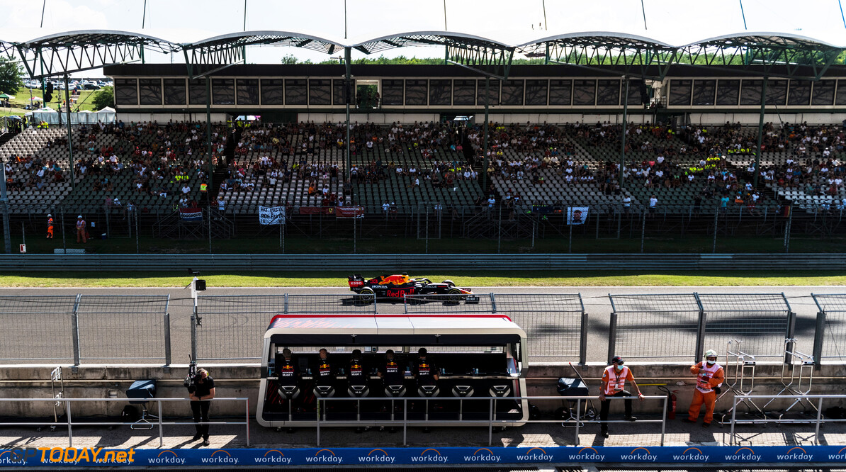 BUDAPEST, HUNGARY - JULY 30: Max Verstappen of the Netherlands driving the (33) Red Bull Racing RB16B Honda during practice ahead of the F1 Grand Prix of Hungary at Hungaroring on July 30, 2021 in Budapest, Hungary. (Photo by Getty Images/Getty Images) // Getty Images / Red Bull Content Pool  // SI202107300358 // Usage for editorial use only //  F1 Grand Prix of Hungary - Practice     SI202107300358