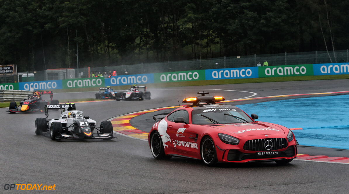 FIA Formula 3 Championship Lorenzo Colombo (ITA) Campos Racing leads behind the Mercedes FIA Safety Car.  28.08.2021. Formula 3 Championship, Rd 5, Race 1, Spa-Francorchamps, Belgium, Saturday.  - www.xpbimages.com, EMail: requests@xpbimages.com Copyright: XPB Images Motor Racing - FIA Formula 3 Championship - Saturday - Spa-Francorchamps, Belgium xpbimages.com Spa-Francorchamps Belgium  Belgium Belgian Spa-Francorchamps Spa Francorchamps Spa Saturday August 28 08 8 2021 F3 Formula Three Formula 3 Action Track